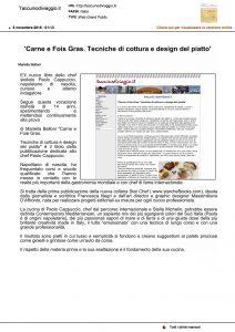 """08-11-2016 Taccuinodiviaggio.it """"Carne e Fois Gras. Tecniche di cottura e design del piatto""""."""