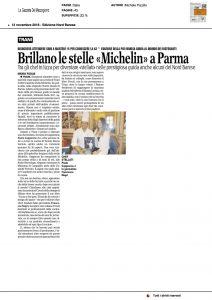 """13-11-2016 La Gazzetta del Mezzogiorno Brillano le stelle """"Michelin"""" a Parma"""