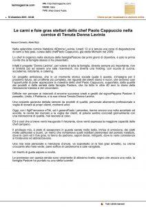 16-12-2016 Lsdmagazine.com Le carni e foie gras stellari dello chef Paolo Cappuccio nella cornice di Tenuta Donna Lavinia